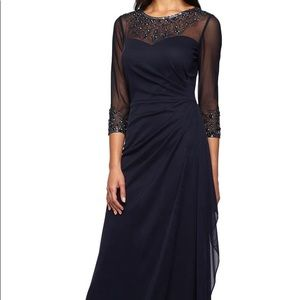 Alex Evenings Blue Embellished A-line Gown